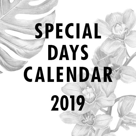 Special Days calendar 2019