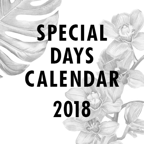 Special Days calendar 2018 | Flower Council